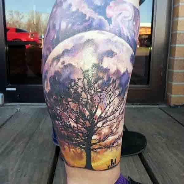 Lower Leg Sleeve Full Moon Tattoo For Men