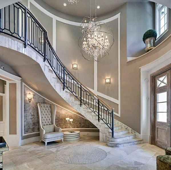 Top 70 Best Stair Railing Ideas Indoor Staircase Designs   Rustic Wrought Iron Stair Railings   Simple   House   Cabin   Iron Baluster   Contemporary