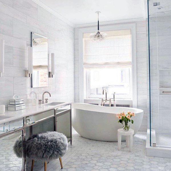 Top 60 Best White Bathroom Ideas - Home Interior Designs on White Bathroom Design Ideas  id=28799