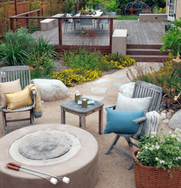 Magnificent Gravel Patio Design Ideas Fire Pit With Wood Deck