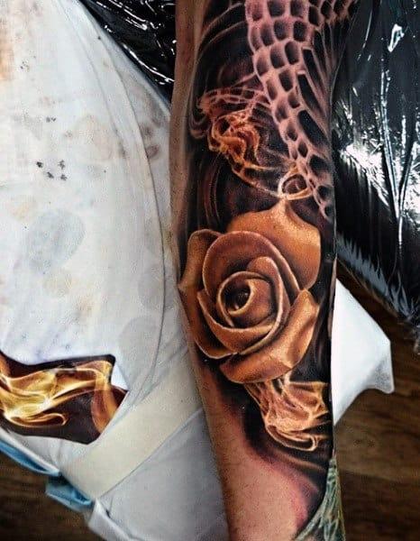 Male Smoke Rose Tattoo Designs