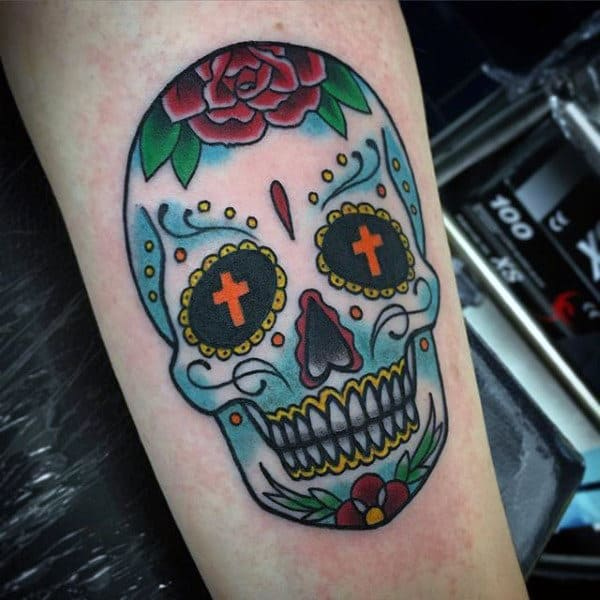 Male Sugar Skull And Roses Tattoo On Arm
