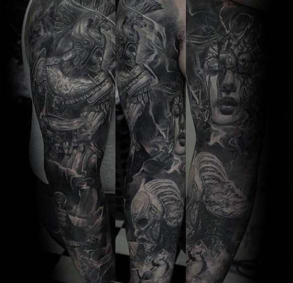 Manly Incredible Tattoo Design Ideas For Men Full Arm Shaded Lack And Grey Warrior Sleeve