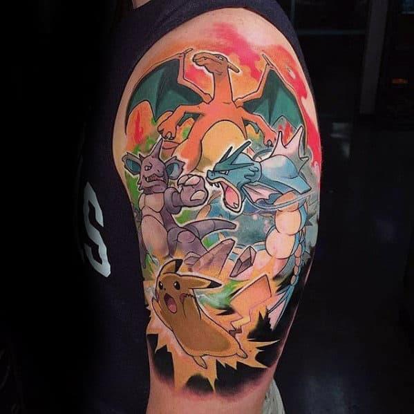40 Gyarados Tattoo Designs For Men Pokemon Ink Ideas