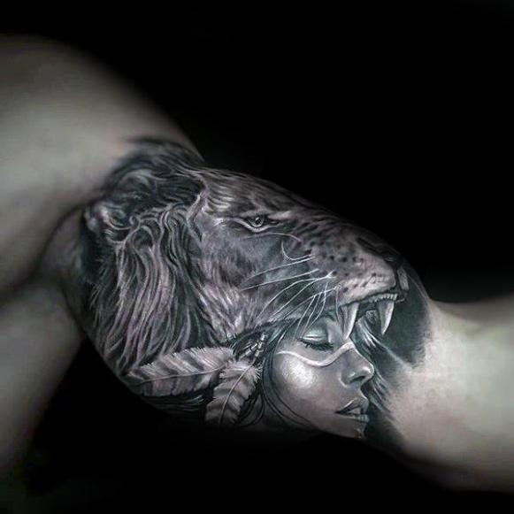 Masculine Incredible Female With Lion Head Tattoos For Men Inner Arm Bicep