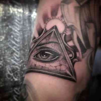Mens Arms Realistic Illuminati Tattoo