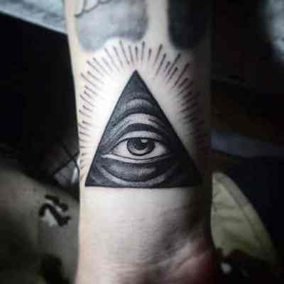 Mens Forearms Grey Illuminati Tattoo