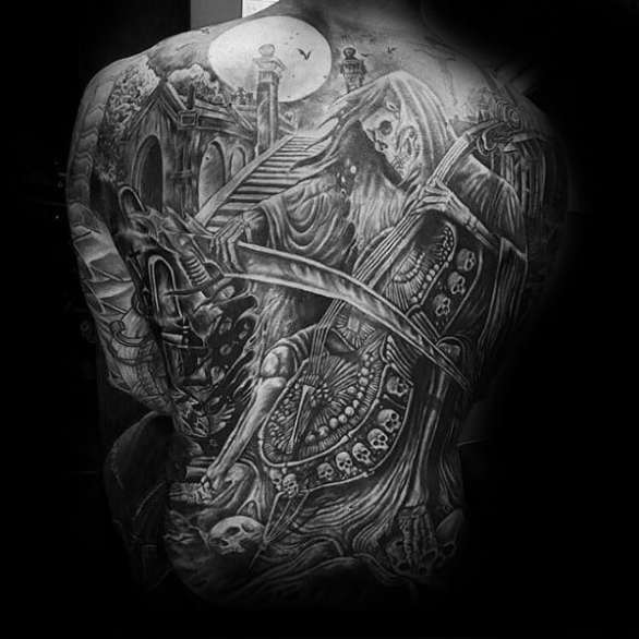 Mens Full Back Skeleton Playing Musical Instrument Incredible Tattoo