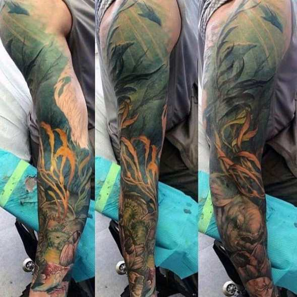 Mens Incredible Tattoo Sleeve Deep Sea Ocean Themed Ideas