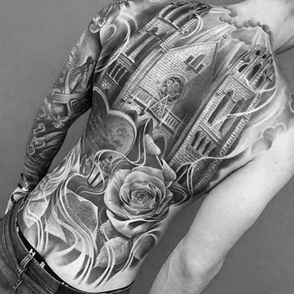 Mens Manly Incredible Chruch Building With Rose Flower Shaded Full Back Tattoo Designs