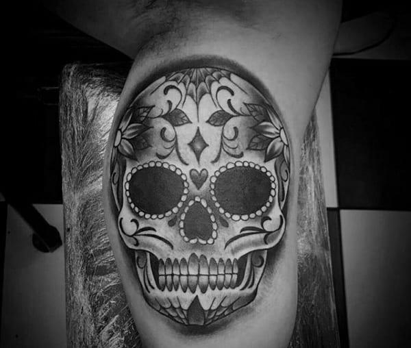 Mens Sugar Skull Shaded Black And Grey Bicep Tattoos