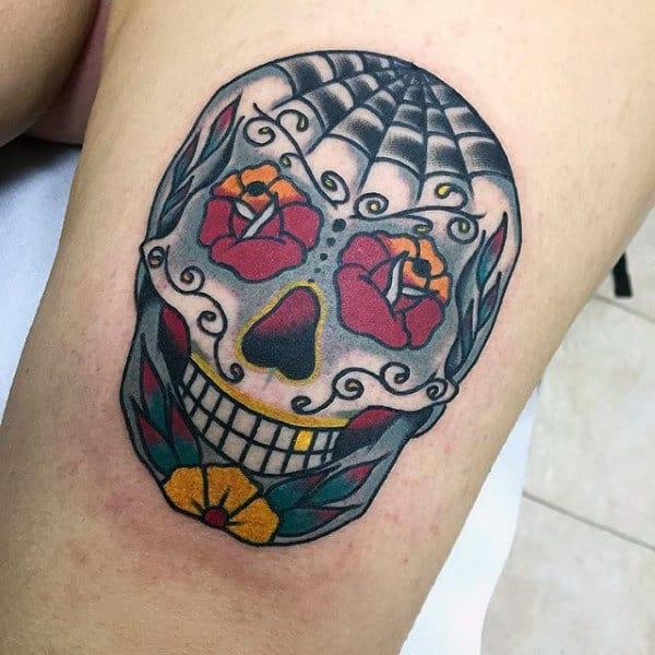 Mens Sugar Skull Thigh Tattoo With Rose Flower Eyes