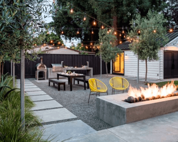 Modern Backyard Designs Gravel Patio With Fire Pit And String Lights
