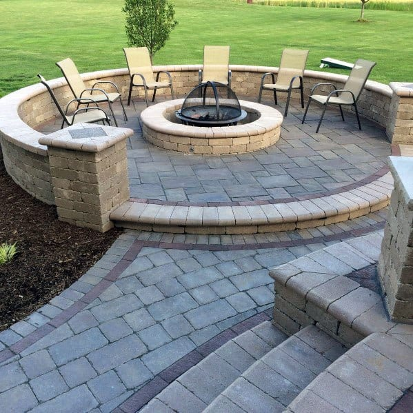 Top 60 Best Paver Patio Ideas - Backyard Dreamscape Designs on Pavers Patio With Fire Pit id=61929