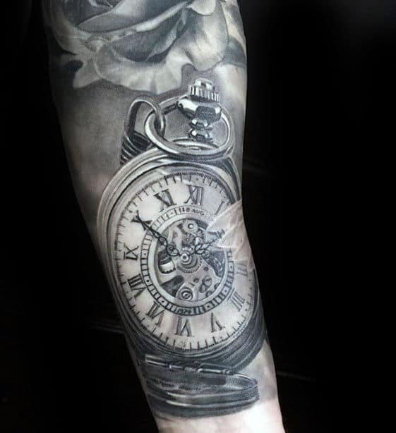 Pocket Watch Hyper Realistic Mens Arm Tattoo