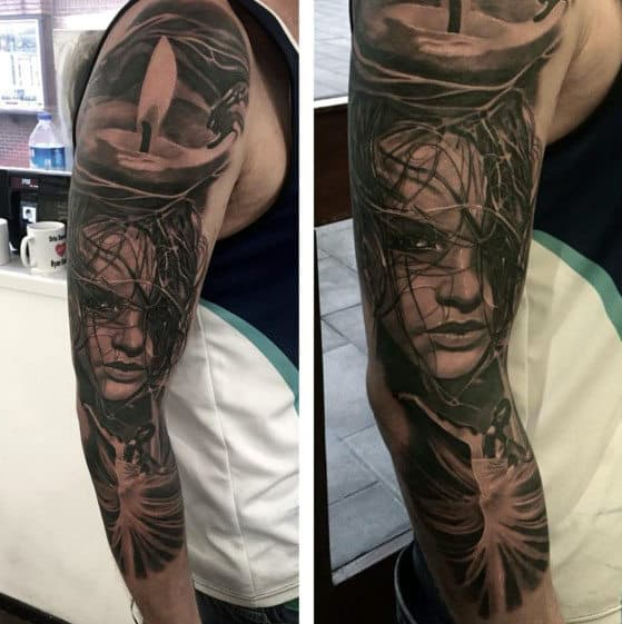 Portrait Full Sleeve Tattoos Designs For Men