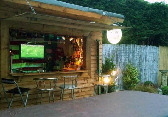 50 Pub Shed Bar Ideas For Men - Cool Backyard Retreat Designs on Man Cave Patio Ideas id=82390