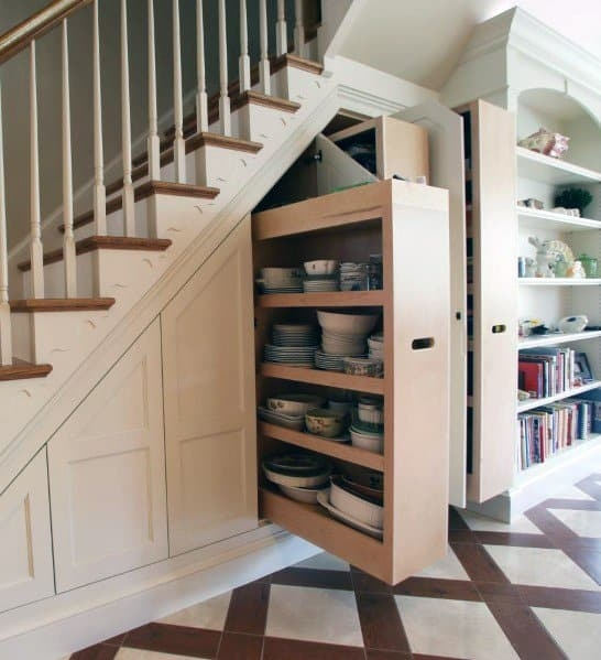 Top 70 Best Under Stairs Ideas Storage Designs | Small Kitchen Design Under Stairs | Stair Storage | Dining Room | Basement Kitchenette | Space Saving | Small Spaces