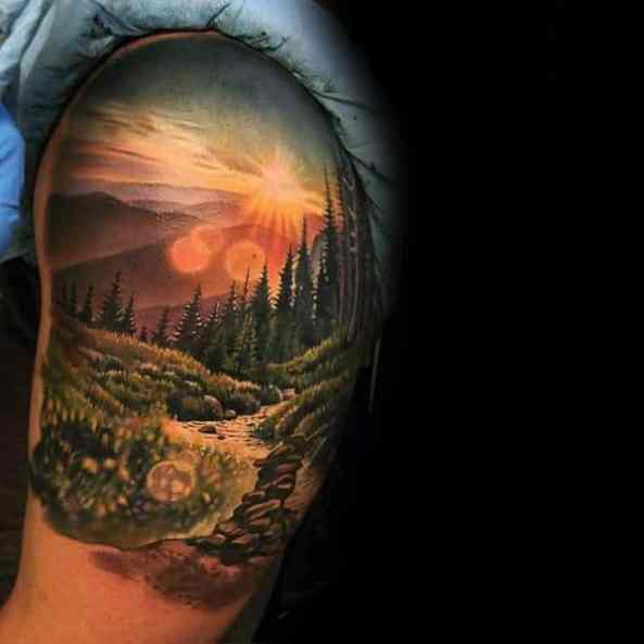 Quarter Sleev Realistic 3d Nature Landscape Incredible Tattoos Male