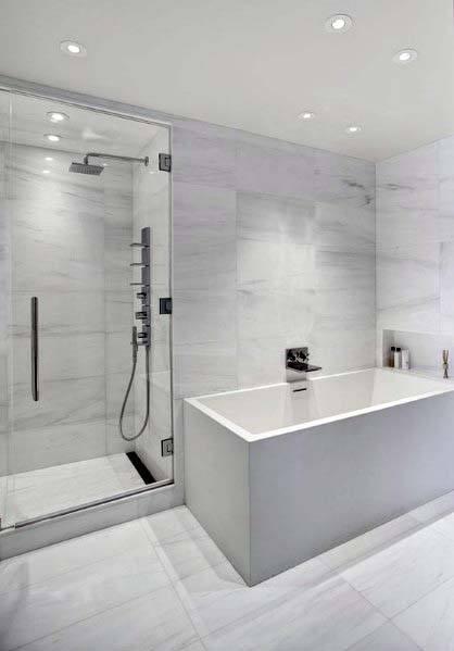 Top 60 Best White Bathroom Ideas - Home Interior Designs on White Bathroom Design Ideas  id=23627