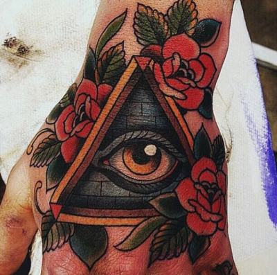 Red And Black Illuminati Design Male Hands