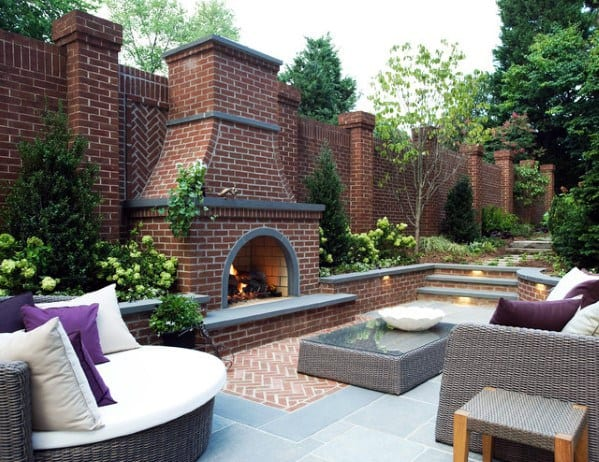 Top 60 Best Patio Fireplace Ideas - Backyard Living Space ... on Simple Outdoor Brick Fireplace id=19179