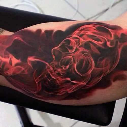 Red Smoke Skulls Tattoo For Guys
