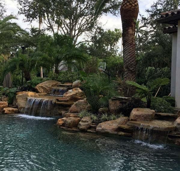 Top 60 Best Pool Waterfall Ideas - Cascading Water Features on Rock Garden Waterfall Ideas  id=39207
