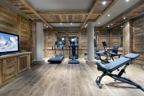 Top 40 Best Home Gym Floor Ideas   Fitness Room Flooring Designs Rustic Cabin Wood Remarkable Ideas For Home Gym Flooring