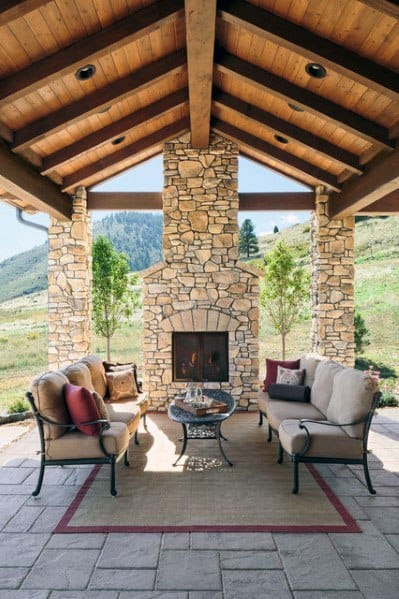 Top 60 Best Patio Fireplace Ideas - Backyard Living Space ... on Covered Patio Design Ideas id=87497