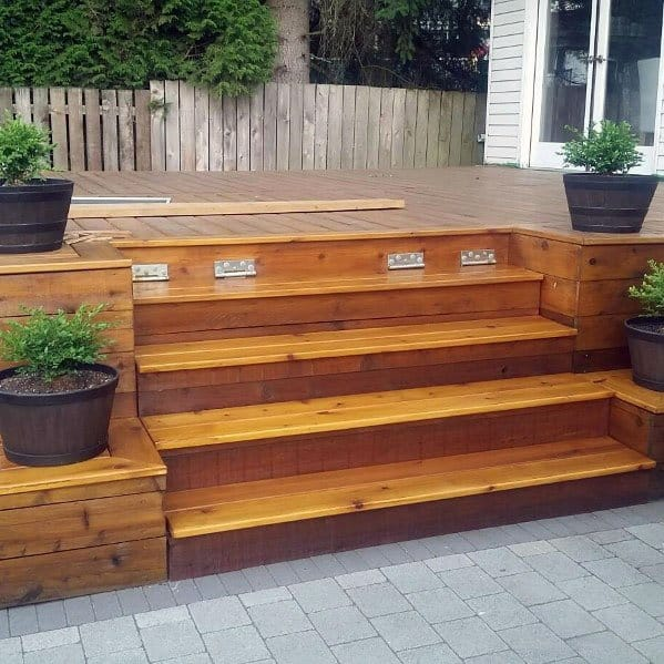 Top 50 Best Deck Steps Ideas - Backyard Design Inspiration on Backyard Patio Steps id=99782