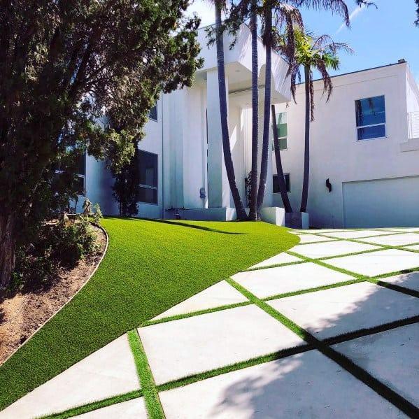 Top 50 Best Concrete Driveway Ideas - Front Yard Exterior ... on Concrete Front Yard Ideas id=30390
