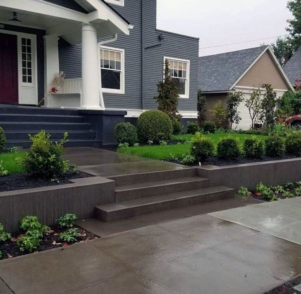 Top 60 Best Concrete Walkway Ideas - Outdoor Path Designs on Concrete Front Yard Ideas id=48886