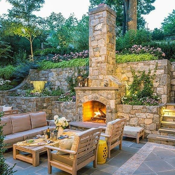 Top 60 Best Patio Fireplace Ideas - Backyard Living Space ... on Small Backyard Stone Patio Ideas id=94713