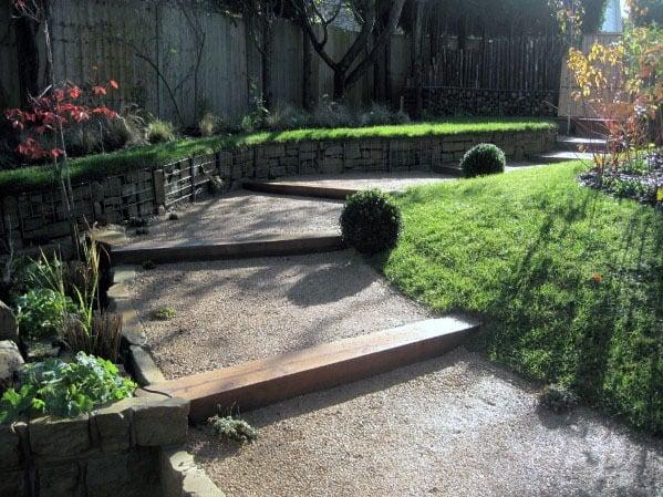 Top 40 Best Gravel Walkway Ideas - Hardscape Path Designs on Sloping Garden Path Ideas  id=41918