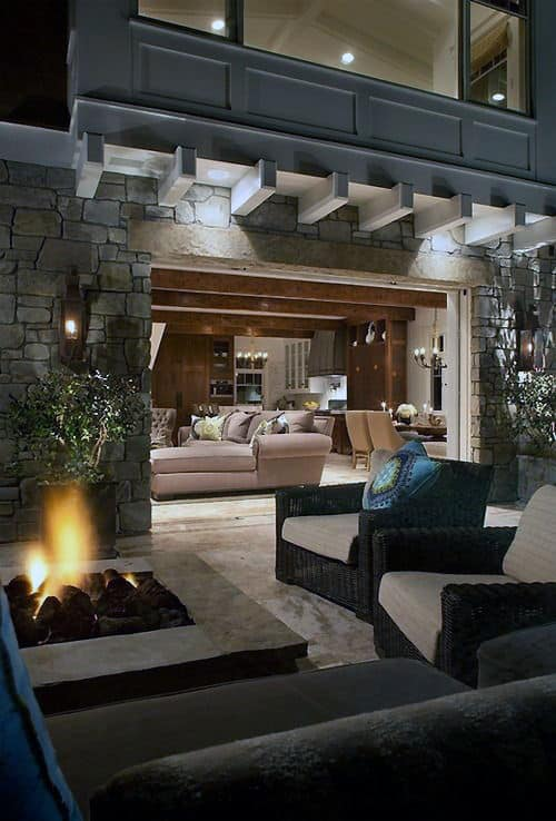 70 Outdoor Fireplace Designs For Men - Cool Fire Pit Ideas on Living Room Fire Pit id=17665