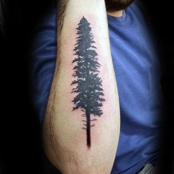 Small Tree Mens Outer Forearm Tattoo