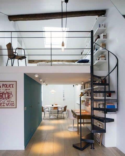 Spiral Staircase Cool Studio Apartment Design Ideas