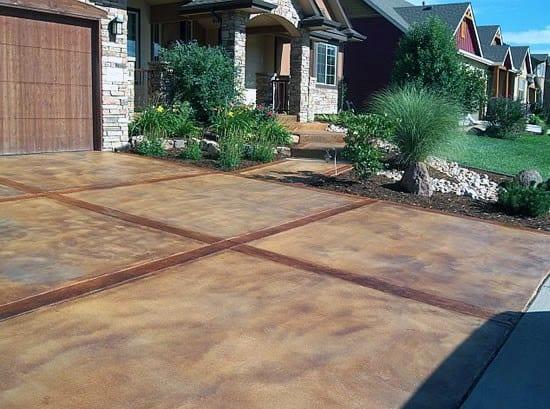 Top 50 Best Concrete Driveway Ideas - Front Yard Exterior ... on Concrete Front Yard Ideas id=15597