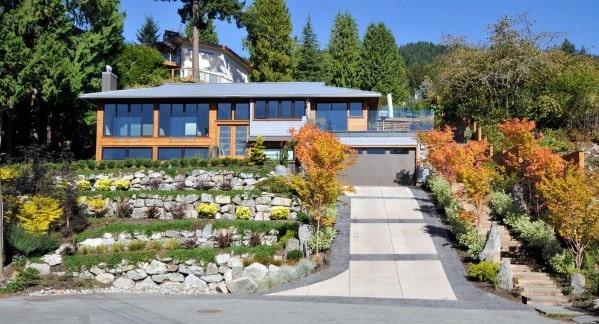 Top 50 Best Concrete Driveway Ideas - Front Yard Exterior ... on Concrete Front Yard Ideas id=98686