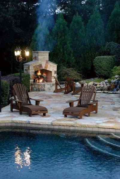 outdoor living patio and pool 70 Outdoor Fireplace Designs For Men - Cool Fire Pit Ideas