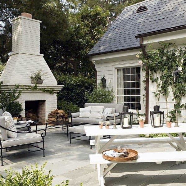 Top 60 Best Patio Fireplace Ideas - Backyard Living Space ... on White Patio Ideas id=27893