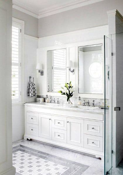 Top 60 Best White Bathroom Ideas - Home Interior Designs on White Bathroom Design Ideas  id=48535