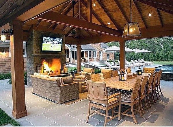 Top 60 Best Patio Fireplace Ideas - Backyard Living Space ... on Backyard Wood Patio Ideas id=32079
