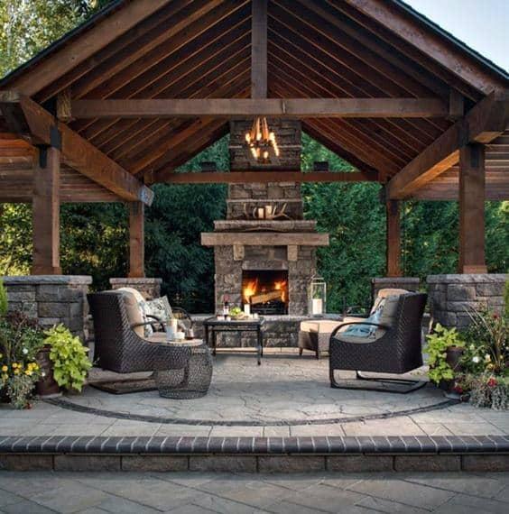 Top 60 Best Patio Fireplace Ideas - Backyard Living Space ... on Backyard Wood Patio Ideas id=43710