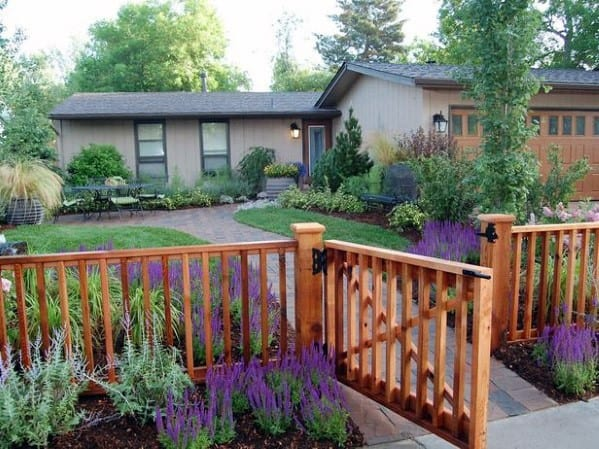 Top 60 Best Front Yard Fence Ideas - Outdoor Barrier Designs on Backyard Wooden Fence Decorating Ideas id=23694