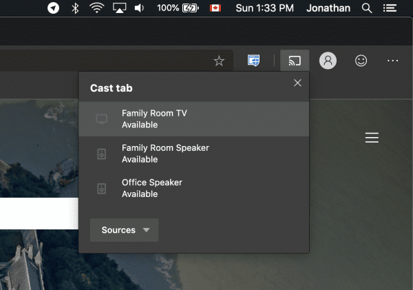 Chromecast with Microsoft Edge for Mac - Next of Windows