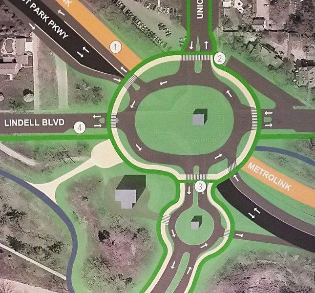 Study Suggests Steps to Humanize Lindell Blvd   NextSTL The design would include high visibility crosswalks and will allow vehicle  access to and from the parkway in all four directions  Current access is  only to