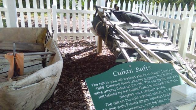 cuban rafts at Florida's tallest lighthouse Ponce de Leon museum