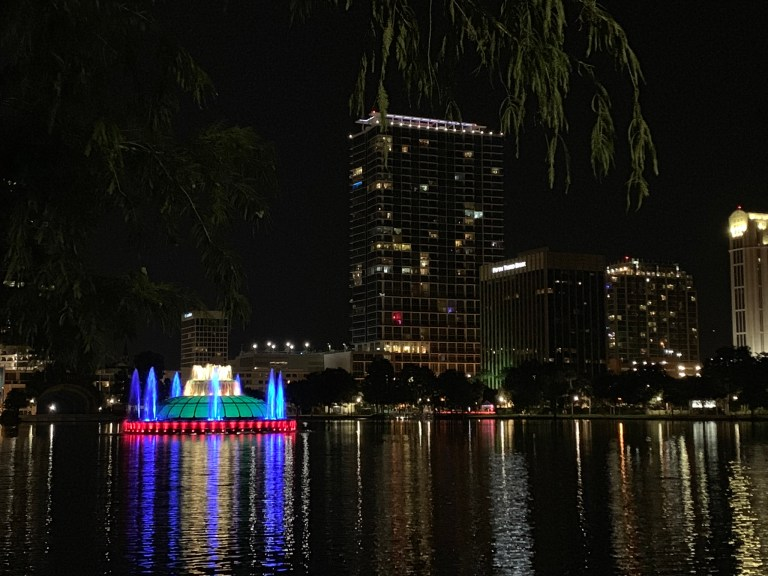 Downtown Orlando fountain at Lake Eola Park